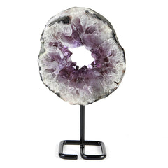 Amethyst Druzy Geode Ring Slice on Stand v1