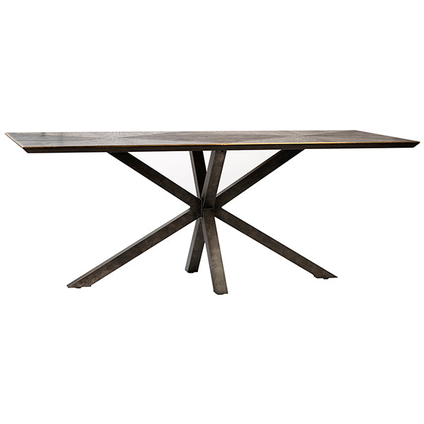 "Starburst 79"" Modern Dining Table in Burnt Oak and Brass Trim"
