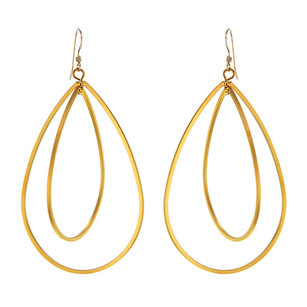 Teardrops Multi Hoop Earrings in Gold Plated Sterling Silver