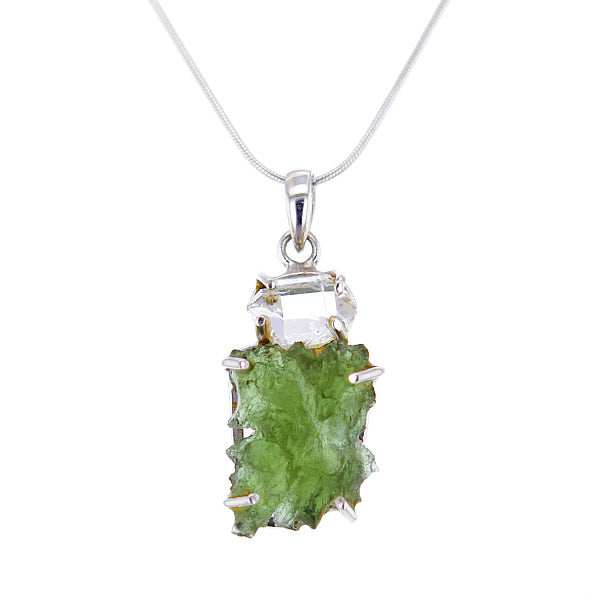 Starborn Raw Moldavite and Crystal Pendant Necklace
