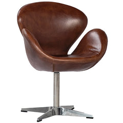 Arne Classic Egg Design Leather Armchair with High Polish Chrome Base