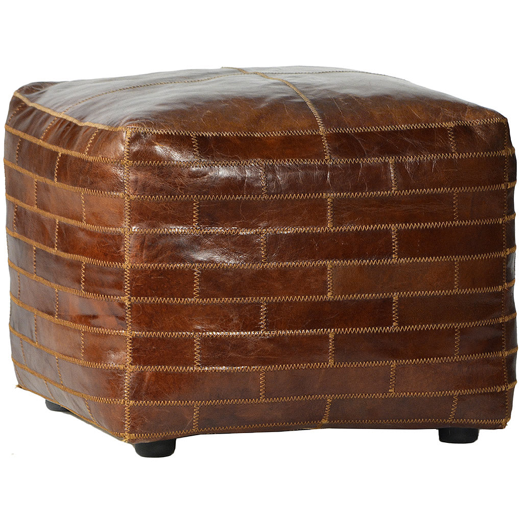 Square Leather Patchwork Ottoman Hollywood