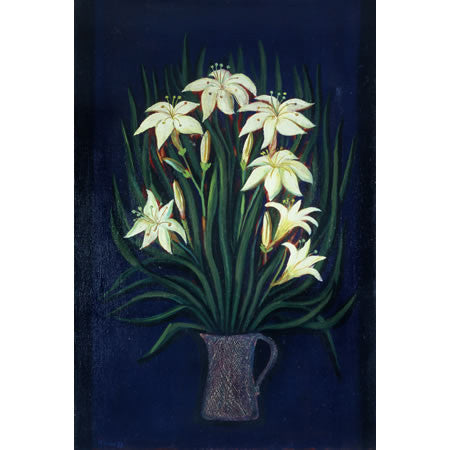 "Vintage Oil Painting Titled ""Stargazer Lilies on Royal Blue"" by Nikolay Nikov"