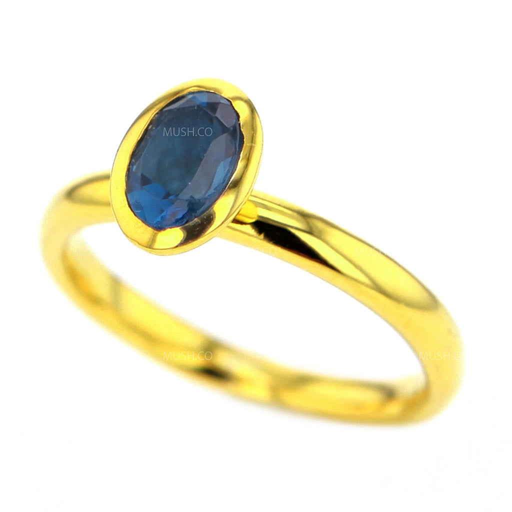 14K Gold Plated Sterling Silver Ring with Oval London Topaz Crystal Size 7