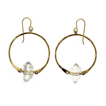 14k Gold Filled Natural Herkimer Diamond Hoop Earrings