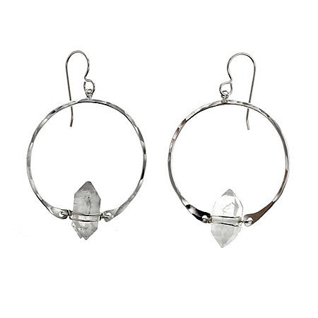 Sterling Silver Natural Herkimer Diamond Hoop Earrings