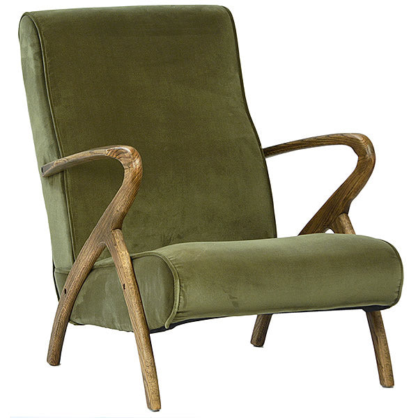 Ludwig Green Velvet Armchair with Antiqued Oak Frame Hollywood