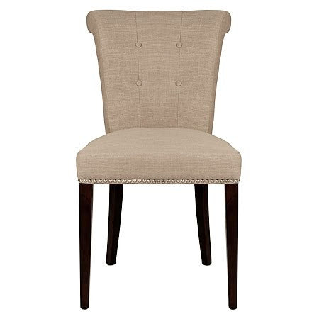 Luxe Fabric Damask Tufted Side Chair in Almond Color Fabric Damask
