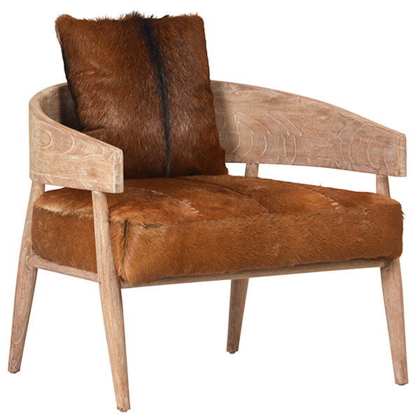 Maraa Occasional Arm Chair in Whitewash Mindi Wood & Goat Hide Hollywood