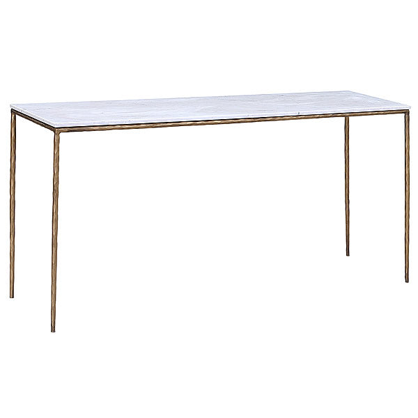 "Enzo 59"" Marble Top & Hammered Copper Tone Base Console Table Hollywood"