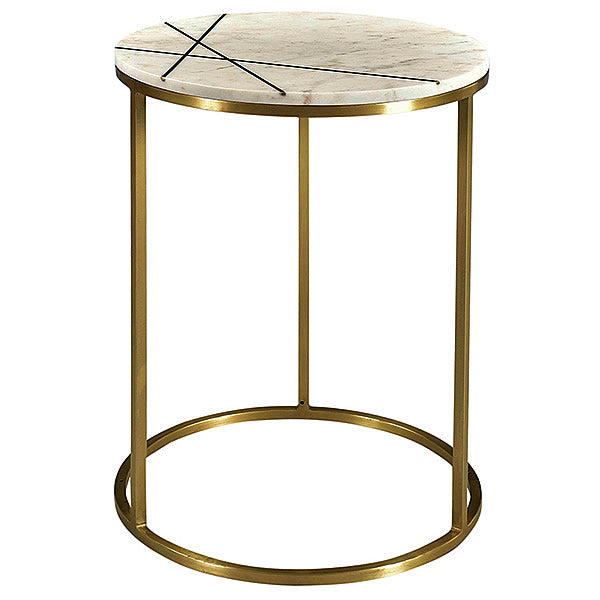 Banswara White Marble & Brass Occasional Designer Round Table