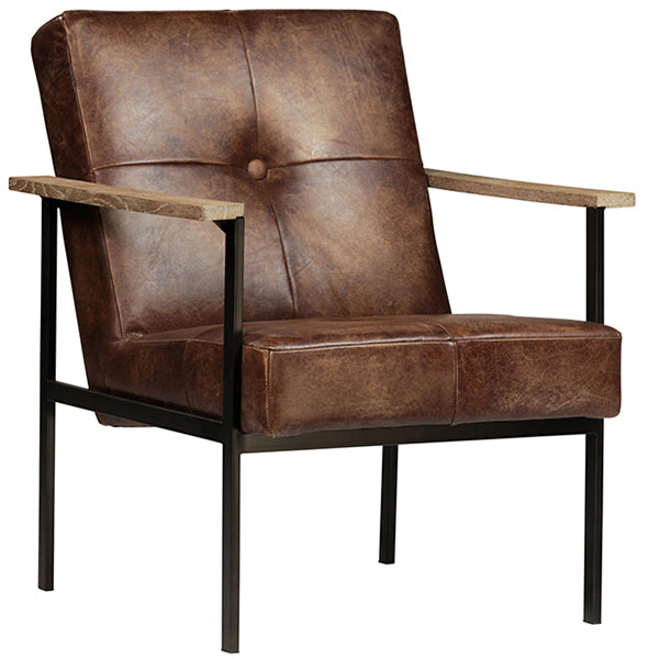 Marcel Mid Century Tufted Leather Armchair Hollywood