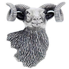 Massive Bighorn Ram's Head Sterling Silver Adjustable Ring