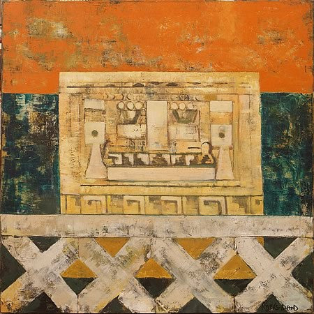 Mayan Landscape Vintage Abstract Painting by R Bland