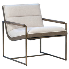 Grayson Off White Poly Linen Armchair With Brass Tube Frame & Wood Accented Armrests