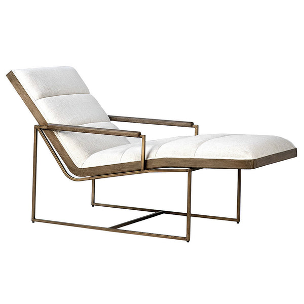 Grayson Off White Poly Linen Lounge Chair With in Tube Frame & Wood Accented Armrests