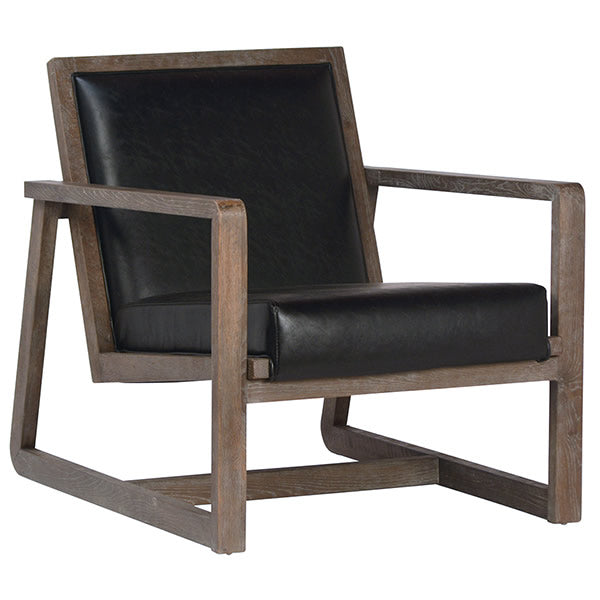 Modern Take on Mission Style Armchair in Black Leather