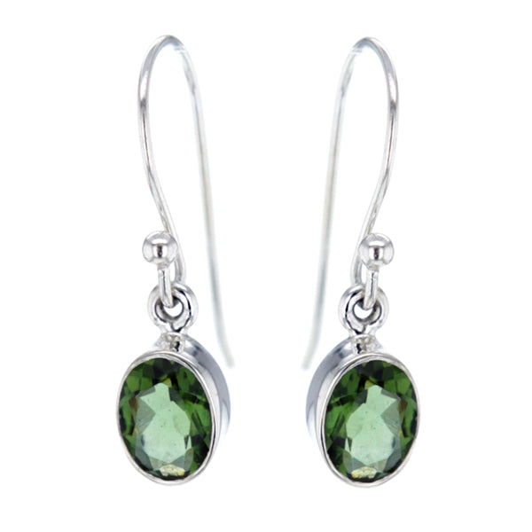 Venus Faceted Moldavite and Sterling Silver Earrings