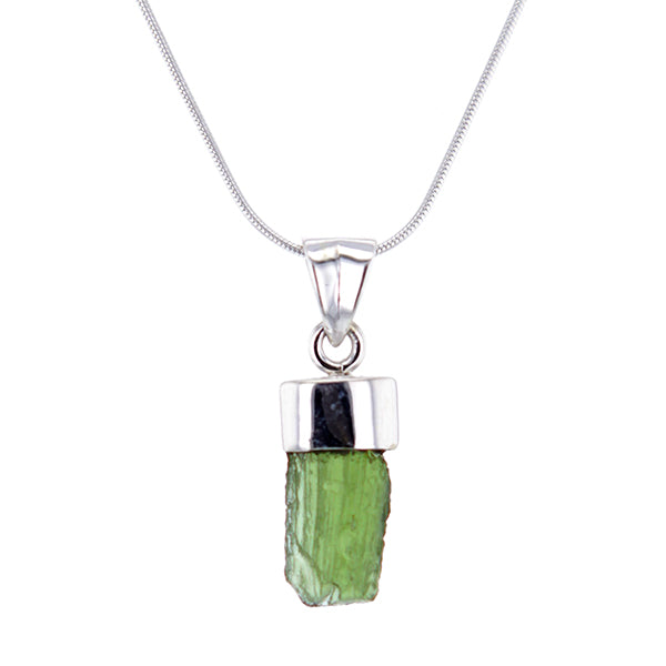 Astral Glow Moldavite and Sterling Silver Pendant Necklace