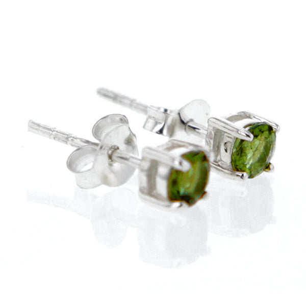 Starlight Moldavite Sterling Silver Stud Earrings Hollywood