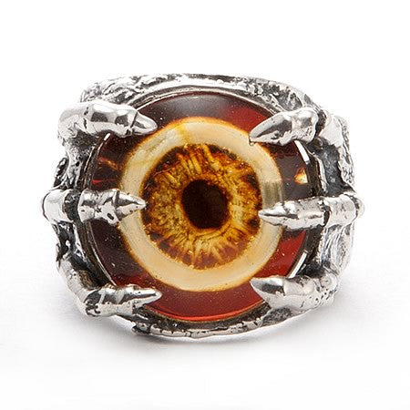Eye of Mordor Sterling Silver Ring with Inlaid Amber Eye