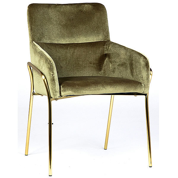 Camilla Dining Chair in Moss Green Poly Damask & Brushed Copper Legs Hollywood