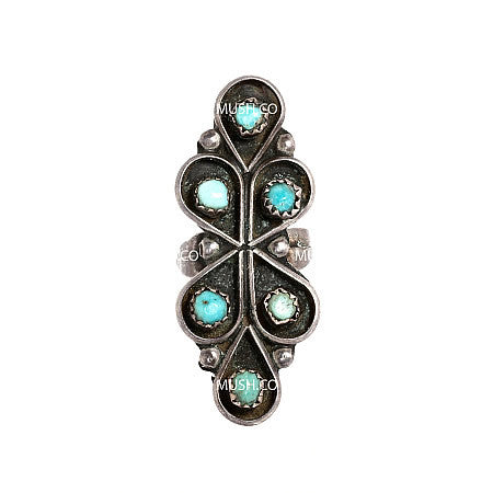 Sculpted Vintage Sterling Silver Navajo Ring with Inlaid Miniature Turquoise Gemstones na008