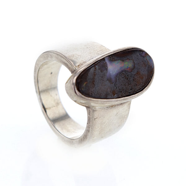 Mesmerizing Natural Boulder Opal And Sterling Silver Ring Size 11