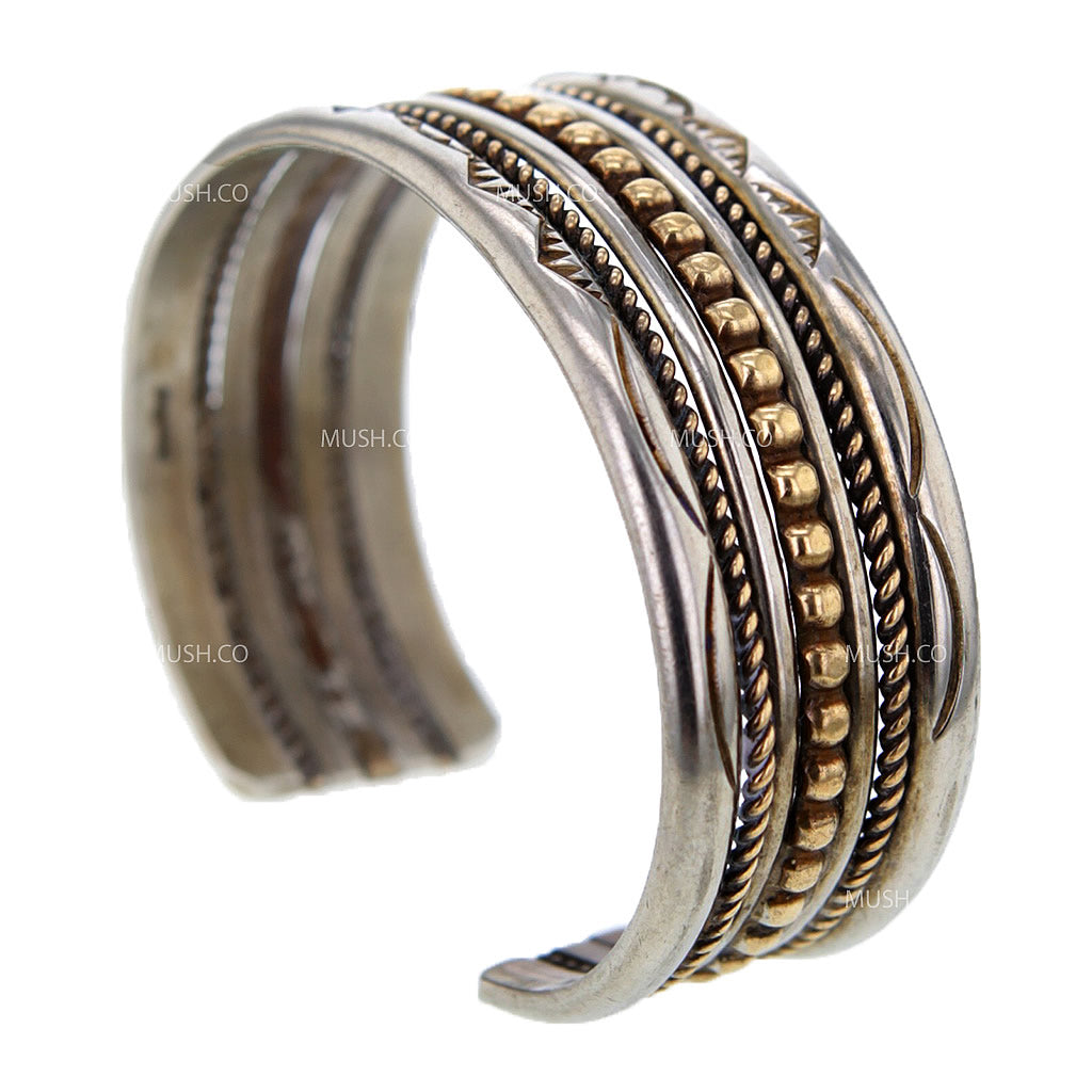 Navajo Sterling Silver Cuff Bracelet with Brass Inlay