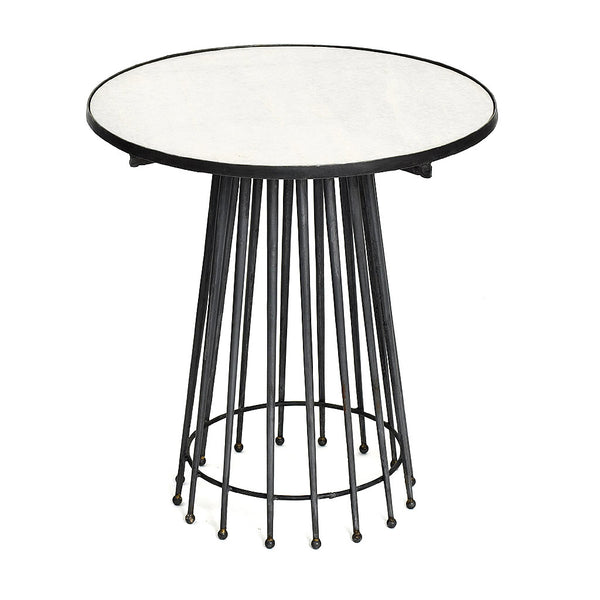 Marble and Steel Needle Side Table