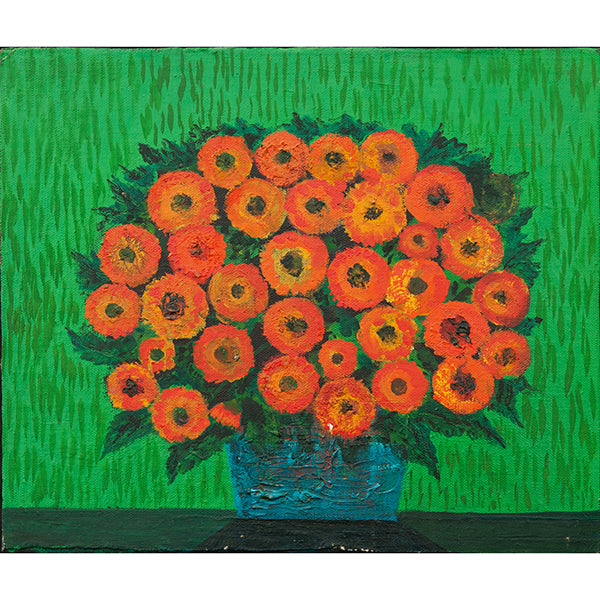 Gerberas on Green Vintage Oil Painting by Nikolay Nikov
