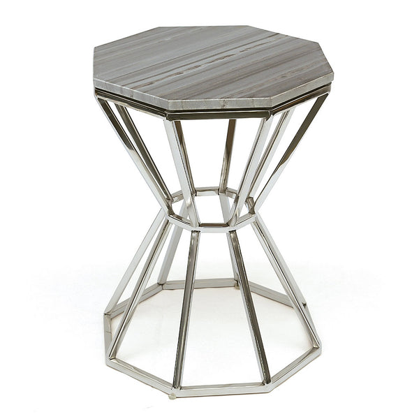 Albert Octagon Marble and Chrome Modern Side Table