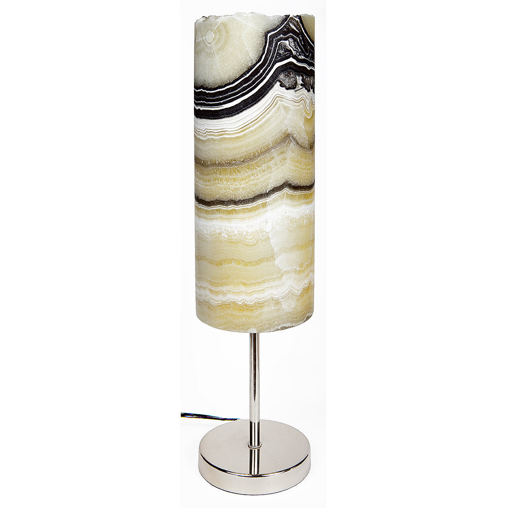 Cylindrical Carved Onyx Pedestal Lamp with Live Edge v2