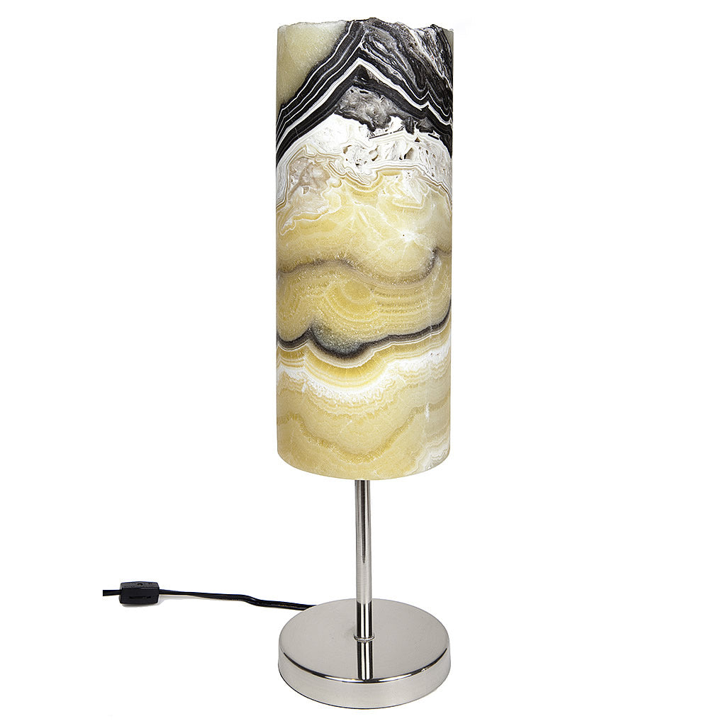 Cylindrical Carved Onyx Pedestal Lamp with Live Edge v1 Hollywood