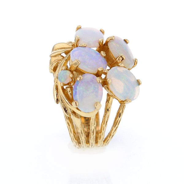 Estate 14k Gold Ring With 6 Spectacular Natural Opals in Size 6.5