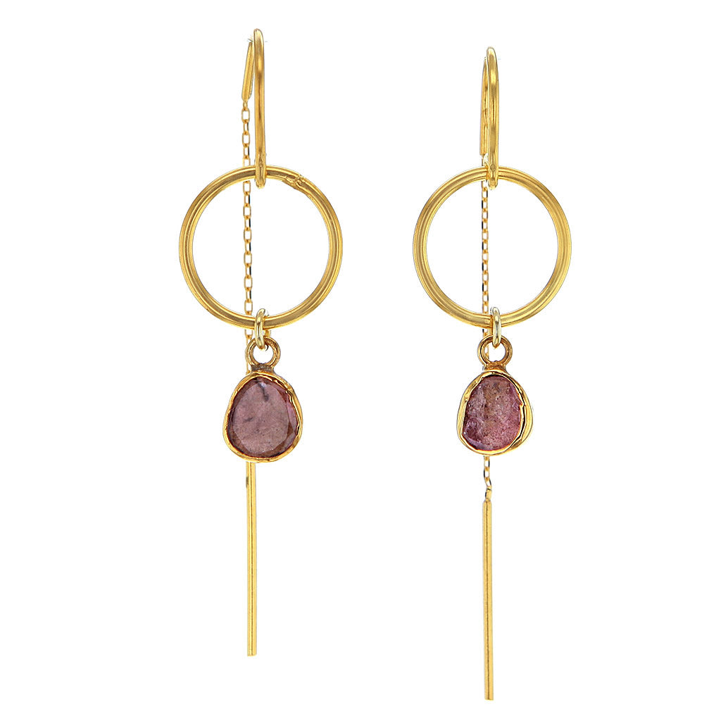 Organic Shaped Pink Tourmaline Earrings in 14K Gold Plated Sterling Silver
