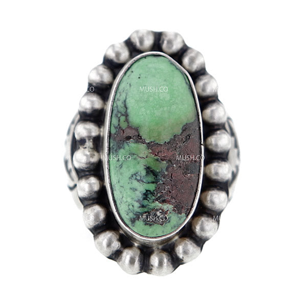 Ornate Navajo Turquoise Sterling Silver Ring by Paul Livingston