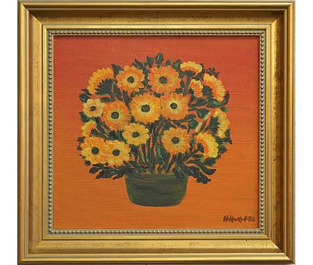 Gerberas on Orange Oil Painting by Nikolay Nikov