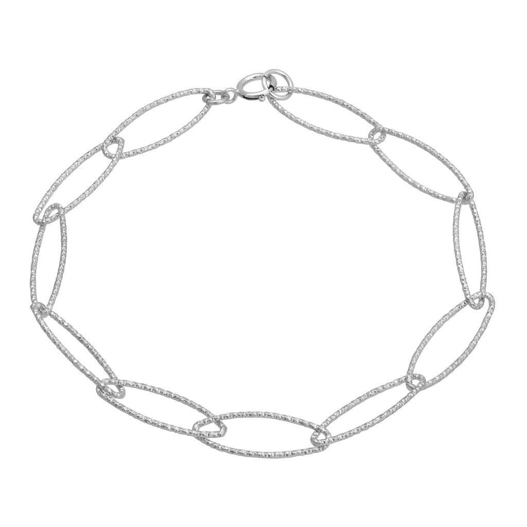 Oval Chain Link Diamond Cut Bracelet
