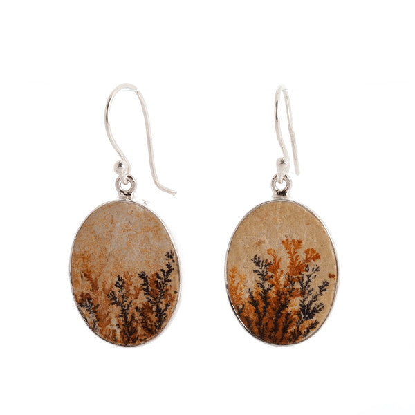 Oval Leaf Jasper and Sterling Silver Earrings v1