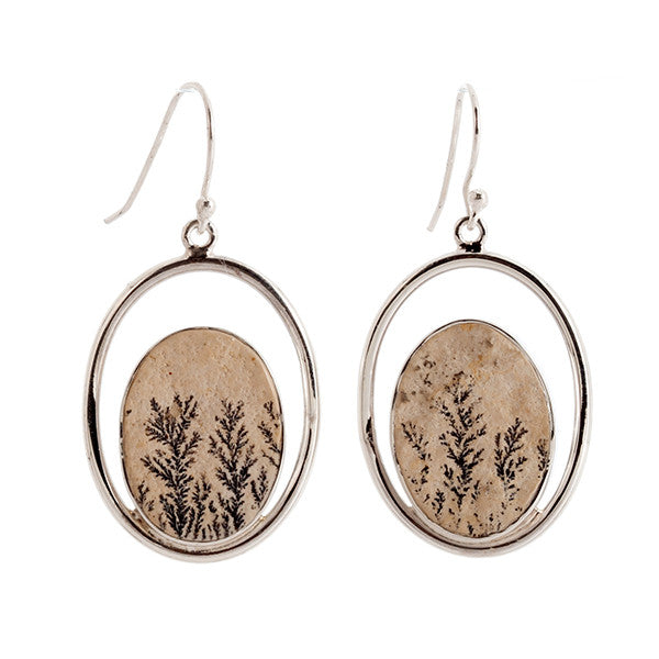 Oval Leaf Jasper and Sterling Silver Earrings