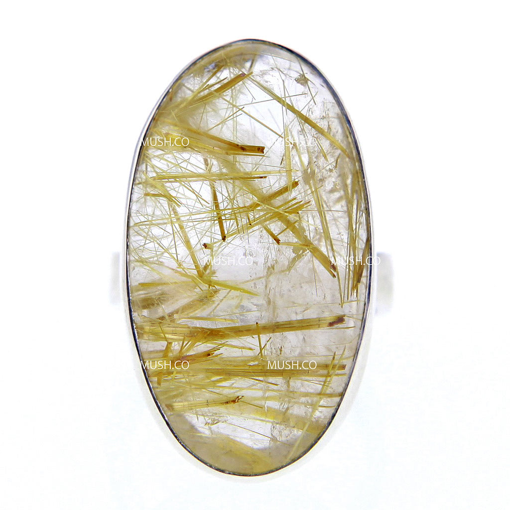 Oval Shaped Gold Rutile Quartz Ring Set in Sterling Silver Sz 7
