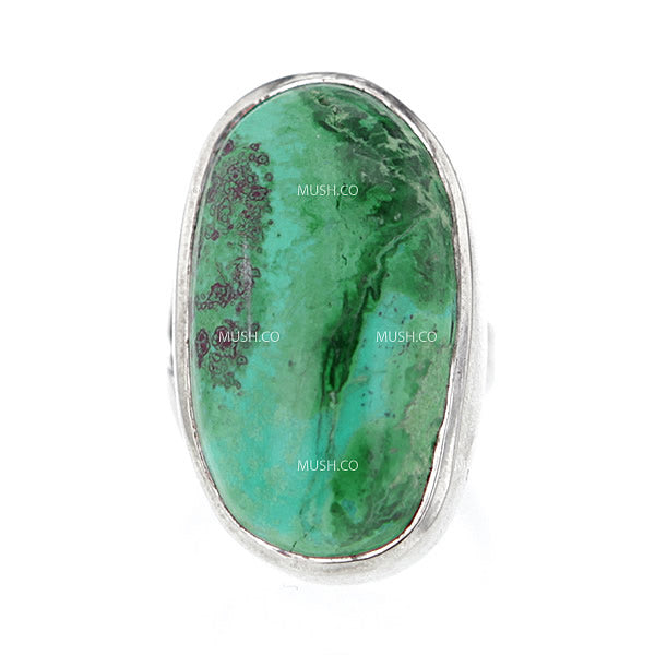 Imperfect Oval Turquoise Sterling Silver Ring with Adjustable Band Hollywood
