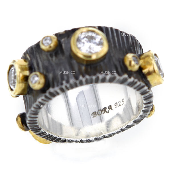 Dewdrop Oxidized Sterling Silver Ripple Texture Band with Gold Plate CZ Studs