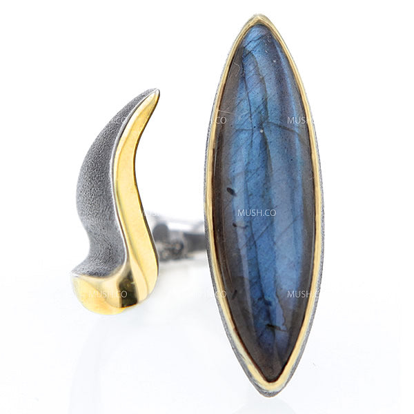 Large Modern Labradorite Ring in Oxidized Sterling Silver & Gold in Size 7.5