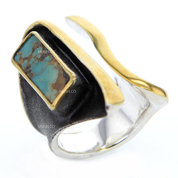Modern Basalt Turquoise Artisan Ring in Oxidized Sterling Silver & Gold