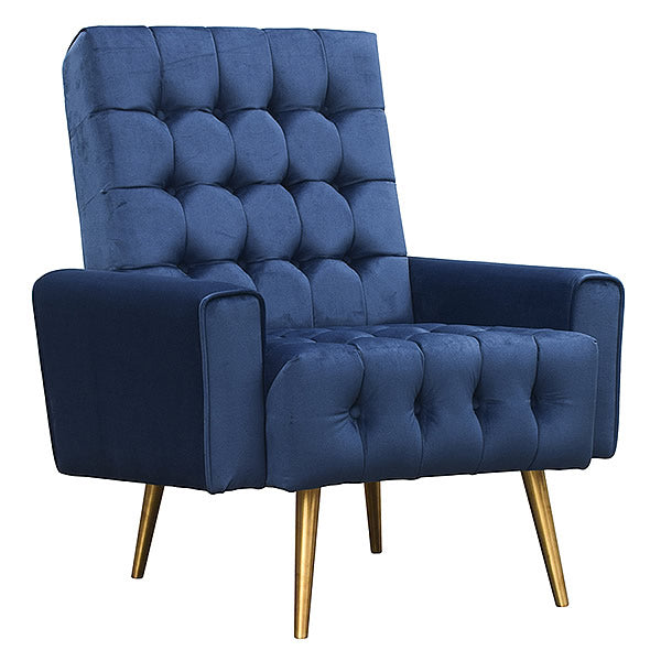 Park Avenue Tufted Fabric Armchair in Navy Blue and Tapered Legs Hollywood