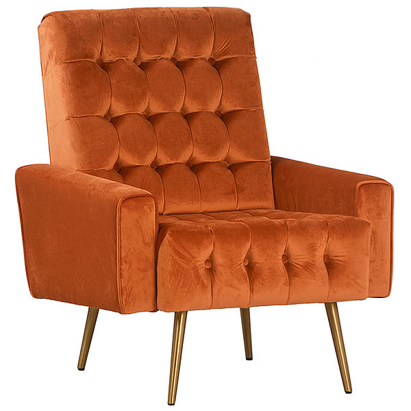 Park Avenue Tufted Fabric Armchair in Burnt Orange