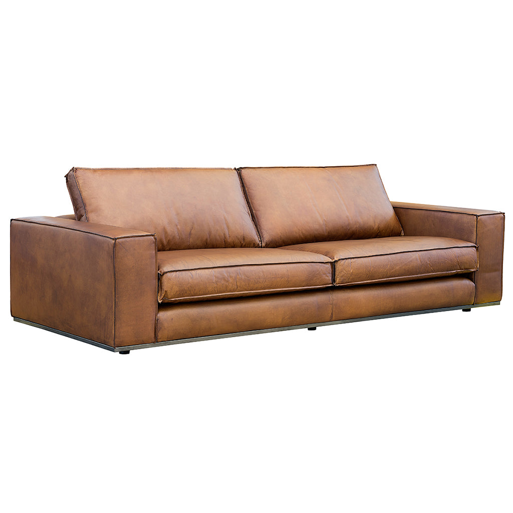 Parker Leather Sofa in Chestnut Brown Genuine Full Grain Leather
