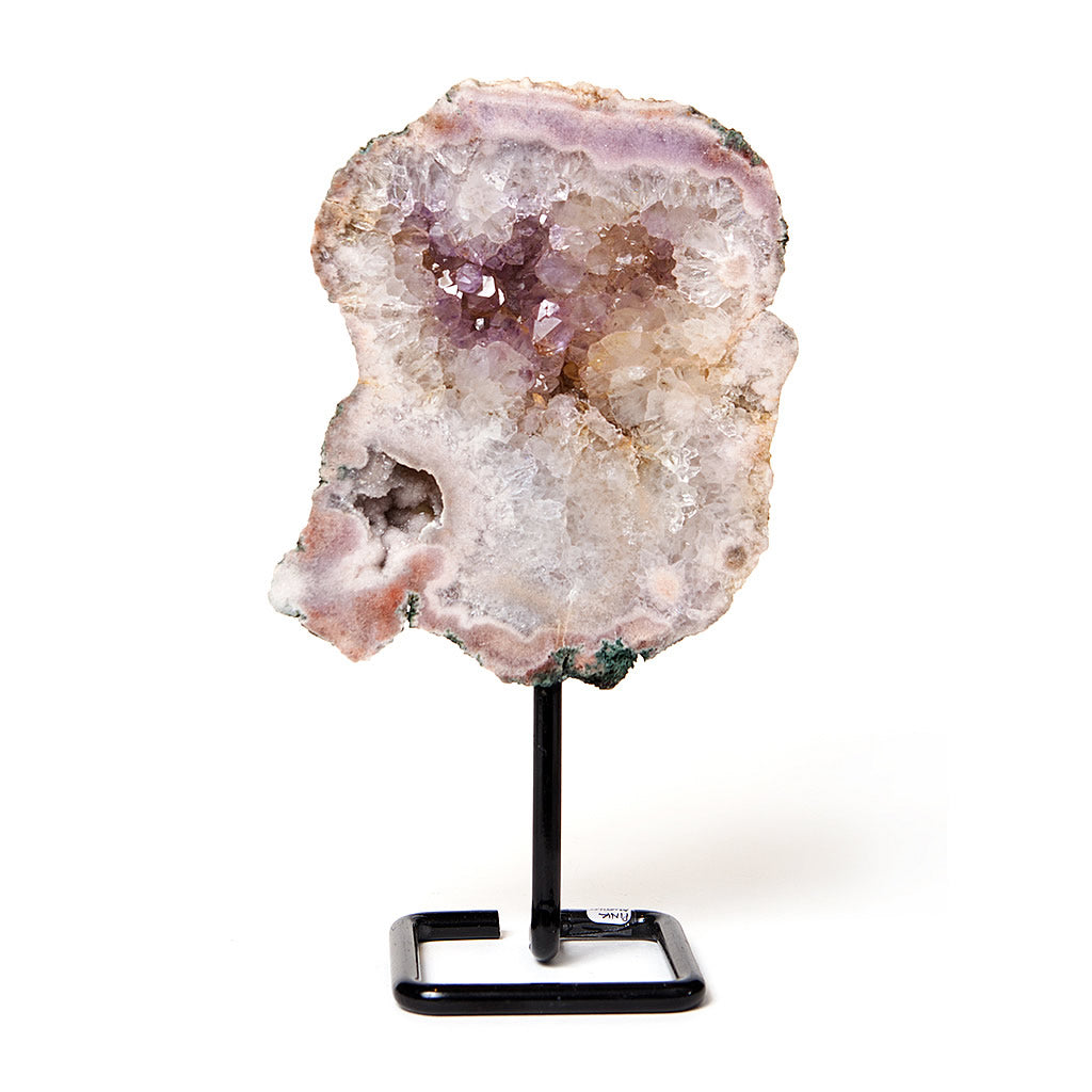 Pink Amethyst Slab Sculpture on Stand v6